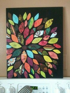 Canvas and scrapbook paper wall art. It was made with a canvas that was painted black and pretty scrapbook paper cut in the shapes of leaves. Cute Crafts, Crafts To Do, Arts And Crafts, Decor Crafts, Beach Crafts, Creative Crafts, Diy Wand, Paper Wall Art, Diy Wall Art