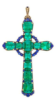 Antique Gold, Tourmaline and Sapphire Cross Pendant, Tiffany & kt. Antique Gold, To Emerald Jewelry, Gems Jewelry, Jewelery, Fine Jewelry, Jewellery Rings, Antique Gold, Antique Jewelry, Vintage Jewelry, Cross Jewelry