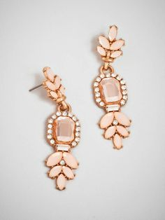 Classic vintage styling gets a  femme update via these gorgeous drops that boast an oversized rectangular crystal and lovely laurel leaf details. Style Me Pretty + BaubleBar