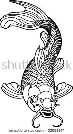 A beautiful koi carp fish illustration in monochrome. Symbol of love, friendship and prosperity