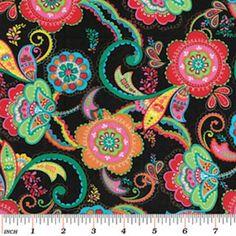 Fabric Store - La Celebracion - Las Flores - ML245040 - Black