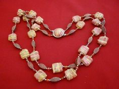 Vintage 22 lightweight yellow beaded necklace with by jeanmc, $15.00