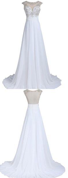 Elegant Scoop Cap Wedding Dresses, Sleeves Shiny Beading Bride Dress
