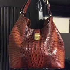 Brahmin Authentic Handbag Brown Crocodile Brahmin Handbag Brahmin Bags Shoulder…
