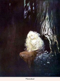 """Maria's Child,"" a pretty disturbing tale from the Grimms.  Illus. by Gustaf Tenggren. Published 1923 by Verlagsanstalt Hermann Klemm, Berlin"