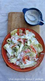 une aiguille dans l' potage: Tagliatelles de concombre au saumon fumé