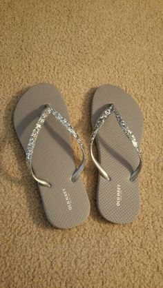 DIY, silver Old Navy flip flops with glued on silver glitter.
