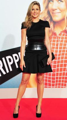 Jennifer Aniston's 32 Best Little Black Dresses Ever | InStyle.com At the We're the Millers premiere, Aniston spiced things up, accessorizing her Alexander McQueen dress with a leather corset belt, Givenchy clutch and black pumps.