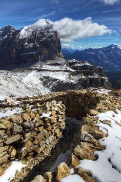 World War one trench in the Italian Dolomites