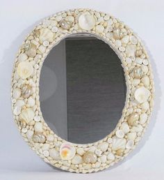 Handcrafted Large Seashell Mirror 16 x 14 Oval