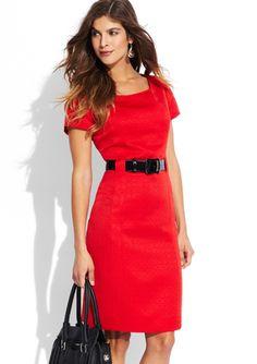 TAHARI ARTHUR S. LEVINE Scoop Neck Belt Detail Dress