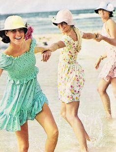 Girls in sundresses for Seventeenmagazine, June 1973.