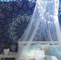 Tribal Wallpaper + Fairylights   18 DIY Summer Tumblr Room Decor Ideas