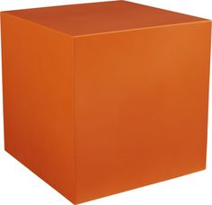 flip side.  There's more than one side to this bright orange side table/seat.  Fiberglass cube flips to reveal a surprise spot to pot plants and green the patio.  No drainage hole; plastic liner recommended. Fiberglass with orange epoxy finishUsed as a side table, extra seat or planterNo drainage hole; plastic liner recommendedOutdoor-safe; cover or store indoors during inclement weather and when not in useDust with soft dry clothMade in Vietnam.