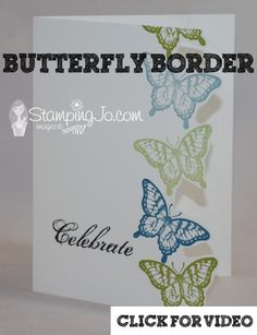 Fun butterfly border card using #Stampin' Up #Papillon Potpourri stamp set. Make this cute card in 5 minutes!