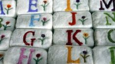 felted soap with monograms on Etsy, $12.00