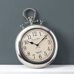Pocket Watch Wall Clock - oversized home accessories Wall Clock Pocket Watch, Silver Pocket Watch, Kitchen Wall Units, Kitchen Wall Clocks, Devon, Cartier, Decorative Accessories, Home Accessories, Silver Wall Clock