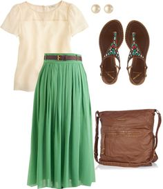 """Sister Missionary #1"" by emmakhuny on Polyvore  Love that skirt! Maybe not those sandals for the mission, though. They're still super cute!"