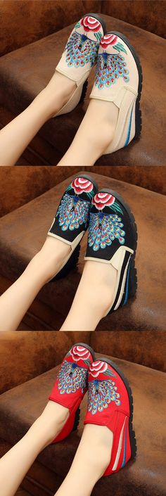 【$8.8 in Aug.8th】US$18.91 Elegant Ethnic Style Vintage Embroidered Increased Within Shoes