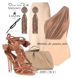 Elegant women style by isabella602 on Polyvore featuring polyvore, fashion, style, Vionnet, Lanvin, Brian Atwood, Jimmy Choo and Oscar de la Renta
