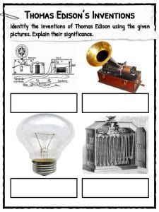 Thomas Edison Facts, Biography, Information & Worksheets For Kids Edison Inventions, Thomas Alva Edison, History For Kids, History Class, Victorian History, Birthday Background Images, Flags With Names, Butterfly Life Cycle, Worksheets For Kids
