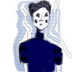 Picture this boy. Young Boy illustration, blue top, stripes on tshirt and on sketchbook. Curly hair and blushing cheeks. Pen and Photoshop.  #aura  #illustration #drawing #doodle #sketchbook #mystupidsketchbook