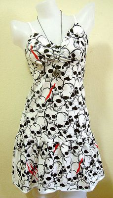 ROCKABILLY White Dresses SKULL Women DRESS EMO Print Rock GOTH PUNK New Sz M
