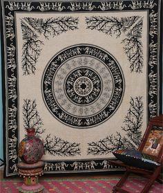 Elephant Lion Tapestry, Tree of life from jaipurihandicraft