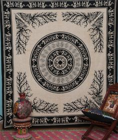 Elephant Lion Tapestry, Tree of life from jaipurihandicraft