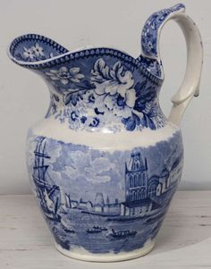 Blue and White Transferware Pitcher, Bristol pattern, 1823