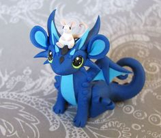 Blue dragon with mouse pal by DragonsAndBeasties.deviantart.com on @deviantART