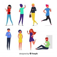 People doing different actions Free Vector Video Games For Kids, Kids Videos, Character Flat, Character Design, Illustrations, Graphic Illustration, Woman Illustration, Anime Comics, Dungeons And Dragons