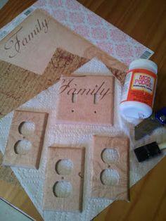 DIY Outlet covers- Scrap book paper & Mod Podge