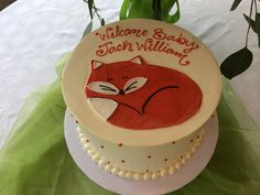 Sleeping baby fox cake for woodland animal baby shower.