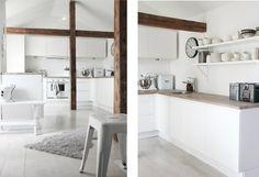 drewniane belki w bialej kuchni,nowoczesna biała kuchnia z drewnianymi belkamo,aranżacja białej kuchni z drewnianymi belkami,skandynawska kuchnia z drewnianymi belkami