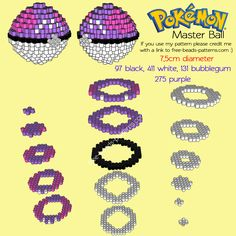 3D Master Ball free Pokemon perler beads melty beads beadsprite pattern