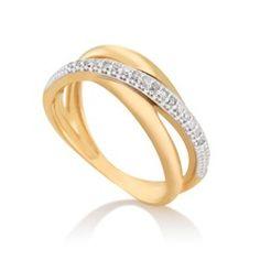 Anel Ouro Amarelo Ouro Branco e Diamantes Gold