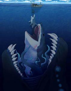 Pacific Rim Evolution: Kaiju, Megalodon and White Shark Fantasy Monster, Monster Art, Arte Horror, Horror Art, Character Art, Character Design, Beast Creature, Creature Drawings, Mythical Creatures Art