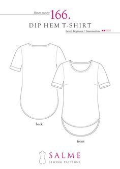 Sewing Pattern for T shirt with rounded dip hem and roll up cuffs. Level Beginner / Intermediate. Includes illustrated instructions.