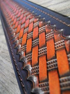Hand Tooled Leather Guitar Strap - British Tan Basketweave. $119.00, via Etsy.
