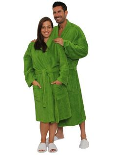 Green Terry Kimona robe for men and women by cottonage 7f615871a
