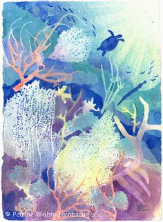 Coral Reef watercolor. Love the turtle in the background!
