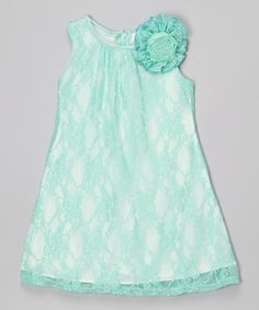 Love this Mint Lace Shift Dress - Toddler & Girls by Cinderella Couture on #zulily! #zulilyfinds