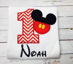 **PLEASE read shop announcement for current processing time BEFORE ordering** This listing is for one Personalized Mickey Mouse Shirt. Numbers 1-9