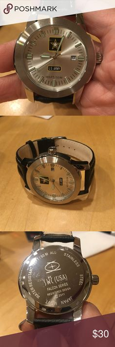 SWC Falcon Series Army Logo Men's Watch Mint condition, silver face with Army logo.  The battery needs to be replaced but that's the only thing wrong.  It's never been worn.  Black leather band. SWC Accessories Watches