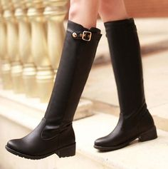 58.30$  Watch here - http://alibvh.worldwells.pw/go.php?t=32427704570 - ENMAYER New Sexy Buckle Med Boots Women Knee-High High Boots Round Toe Platform Knight Boots Platform shoes new motorcycle boots