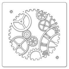 Claritystamp 7x7 Inch Clockwork Stencil (Uhrwerk Malschablone)