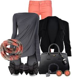 """""""Coral, Black, & Grey"""" by modelmaterialgirl22 on Polyvore"""