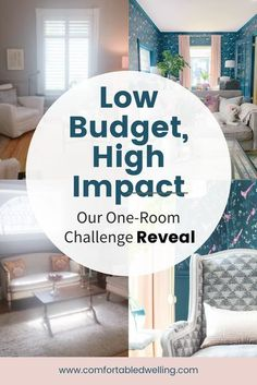 The One Room Challenge Reveal - Before & After of a Double Parlour. We turned our double parlor living room into a stunning transformation on a low budget and a tight timeline in only 6 weeks! A low budget living room design does not mean cheap and DIY! This before & after showcases colorful home decor ideas, sustainable design ideas, with carefully chosen conscious design products. Head to the blog post to read more!   One room challenge   before and after   #DesignTips #InteriorDesignT Interior Design Tips, Design Ideas, Long Narrow Rooms, Home Styles Exterior, Transitional Home Decor, Living Room On A Budget, Grey Furniture, Design Products, Sustainable Design