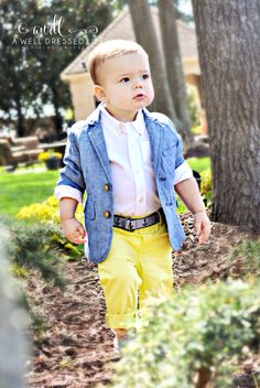 Toddler boy Easter outfit. Spring time looks for baby boy. Blazer, button down shirt, yellow cuffed pants and gray loafers. Baby Gap